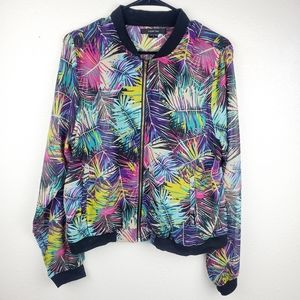 PAPER TEE Retro 80s Colorful Feather Zip Up Jacket